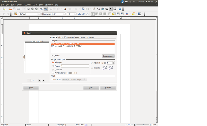 Sample Screenshot for Libre/Open Office