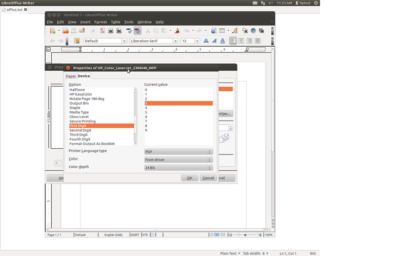 Sample Screen Shot for Libre/Open Office